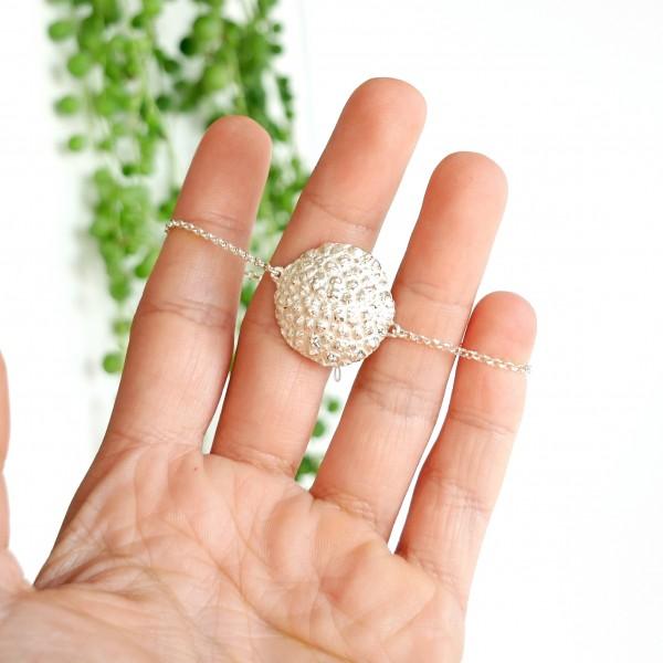 Bracelet jonc en argent 925/1000 Perle de Pluie