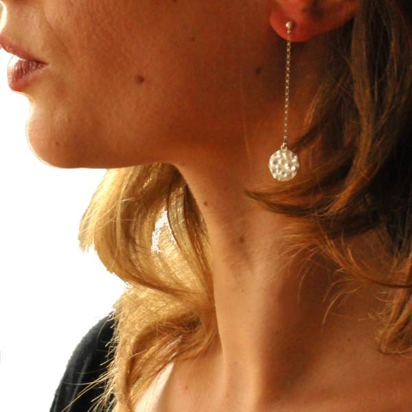 Boucles d'oreilles Perle de Pluie en argent et or 24 carat