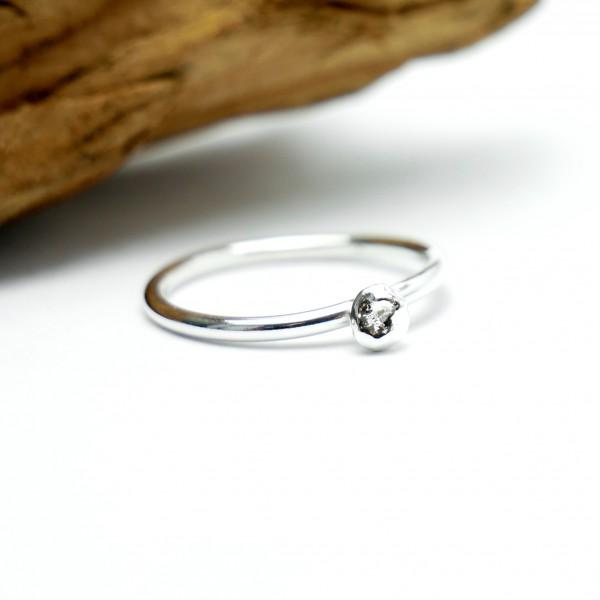 Kleiner Prunus Blume Sterling Silber Ring Prunus