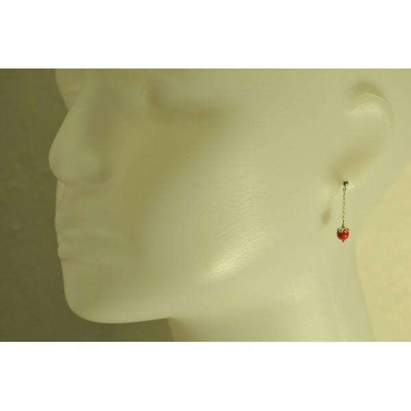 Boucles d'oreilles en argent massif et perles bleues Basic