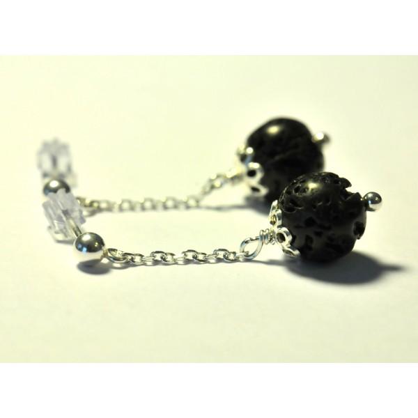 Boucles d'oreilles en argent massif et perles irisées Basic