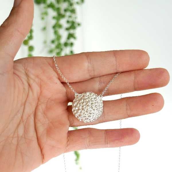 Sakura small ajustable necklace. Sterling silver.