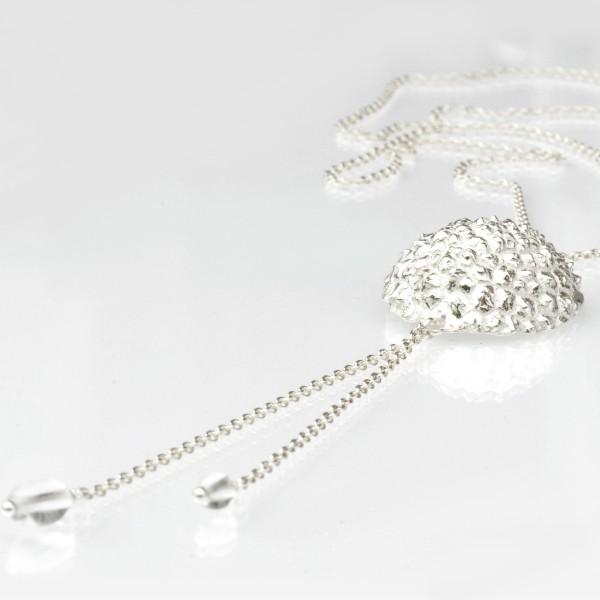 Sakura flower ajustable necklace. Sterling silver.