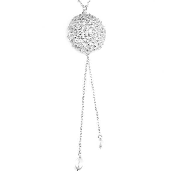 Sakura flower pendant earrings. Sterling silver.