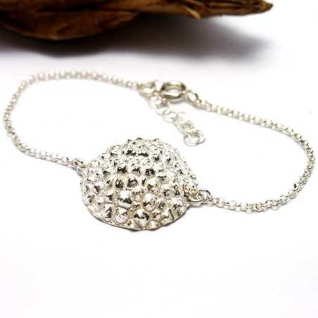 Bracelet jonc en argent et or 24 carat Perle de Pluie