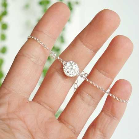 Sterling silver small flowers Sakura bracelet