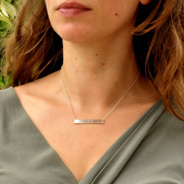 Rectangular sterling silver Kilt necklace Desiree Schmidt Paris Kilt 65,00 €