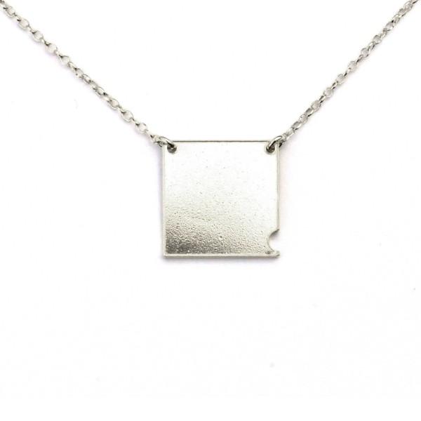 Sterling silver small square necklace Bubble 57,00€
