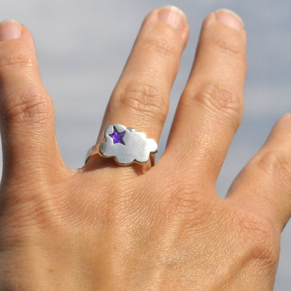 Adjustable cloud ring in sterling silver 925 and purple resin Unique pieces and limited editions 67,00 €