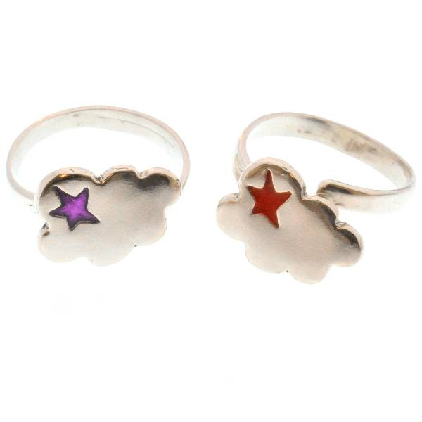 Adjustable cloud ring in sterling silver 925 and purple resin Unique pieces and limited editions 67,00€