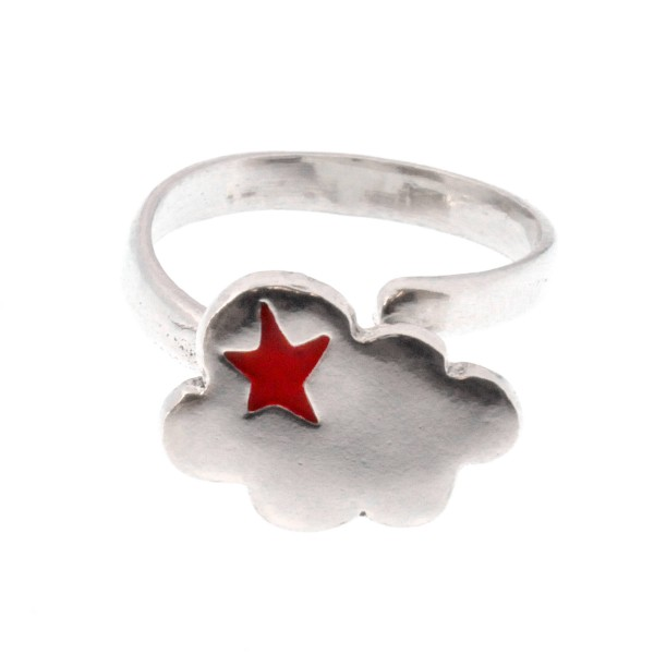 Adjustable cloud ring in sterling silver 925 and red resin Unique pieces and limited editions 67,00 €