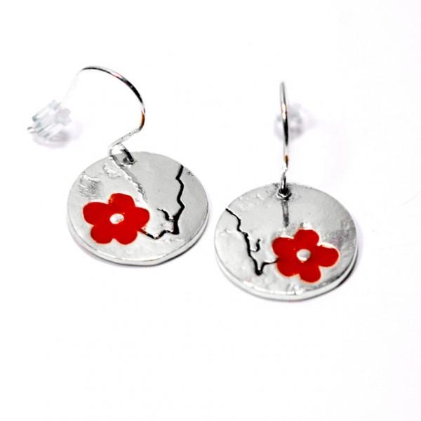Boucles d'oreilles rondes Fleurs de Cerisier en argent massif  Fleurs de Cerisier 85,00€