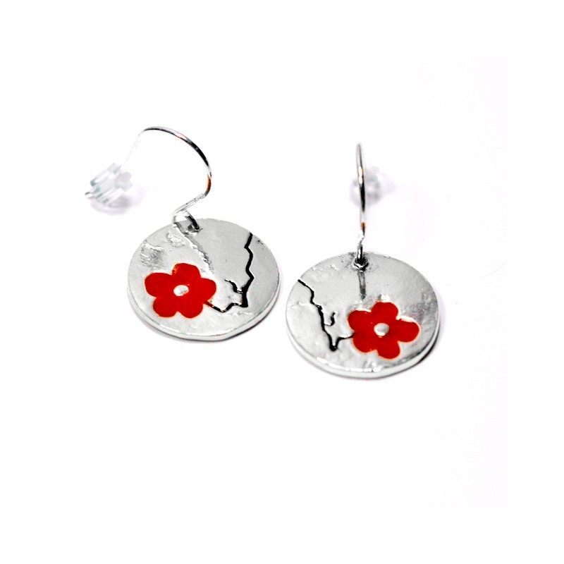 Cherry Blossom red earrings. Sterling silver and resin.  Cherry Blossom 85,00€