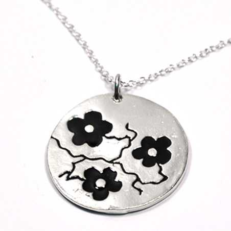 Pendant on 925/1000 silver black flower on chain made in FranceDesiree Schmidt Paris Cherry Blossom 77,00€