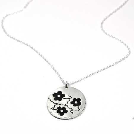 Black Sakura pendant on 925 silver on chain made in France Desiree Schmidt Paris Cherry Blossom 77,00€