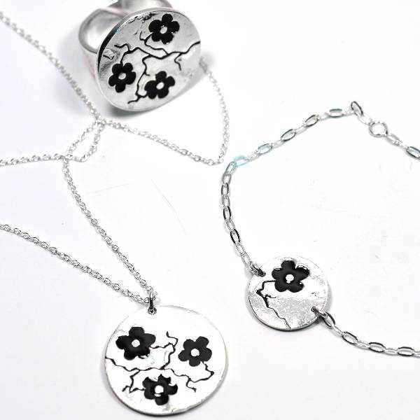Necklace for woman silver 925 black flower made in France Desiree Schmidt Paris Cherry Blossom 77,00€