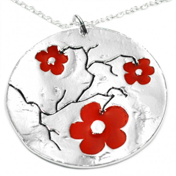 Sterling silver Red Cherry Blossom big pendant on chain Desiree Schmidt Paris Cherry Blossom 107,00€