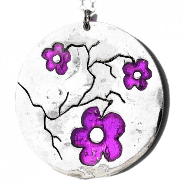 Grand collier Fleurs de Cerisier violettes en argent massif et résine  Fleurs de Cerisier 107,00€