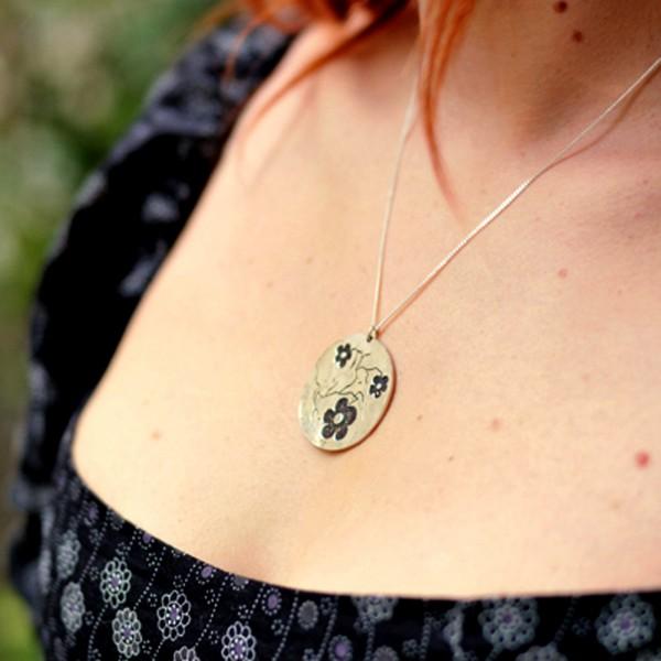 adjustable big necklace flower of Japan silver 925 made in France Desiree Schmidt Paris Cherry Blossom 107,00€