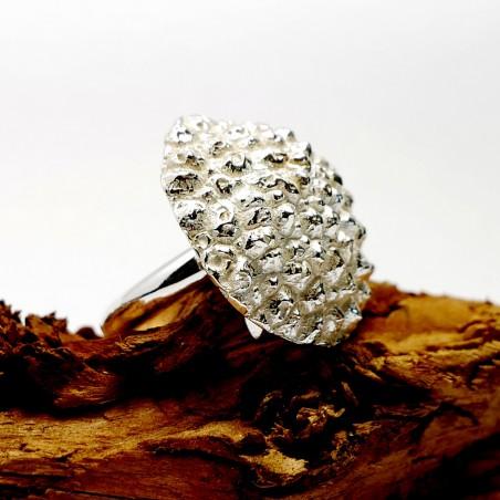 Großer verstellbarer Litchi Ring aus 925 Silber Litchi 85,00€