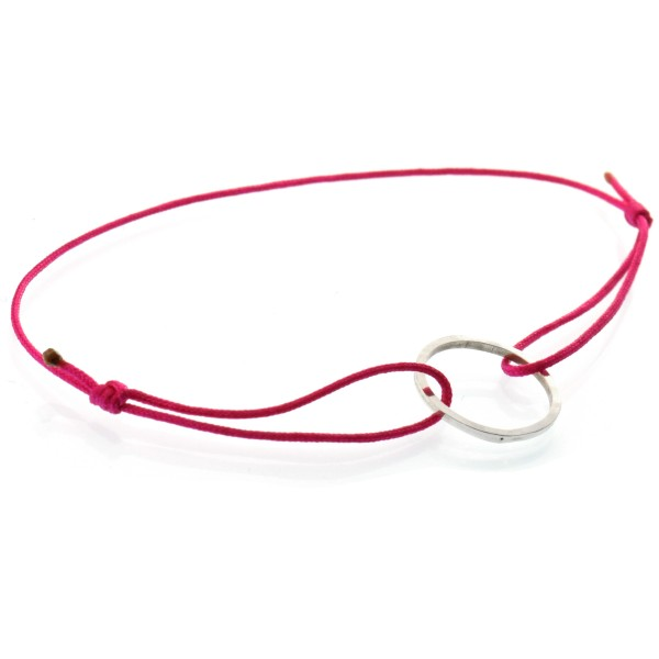 Petit bracelet en argent massif et nylon fushia Desiree Schmidt Paris Basic 19,00€