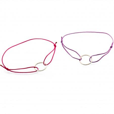 Petit bracelet en argent massif et nylon fushia  Basic 19,00€