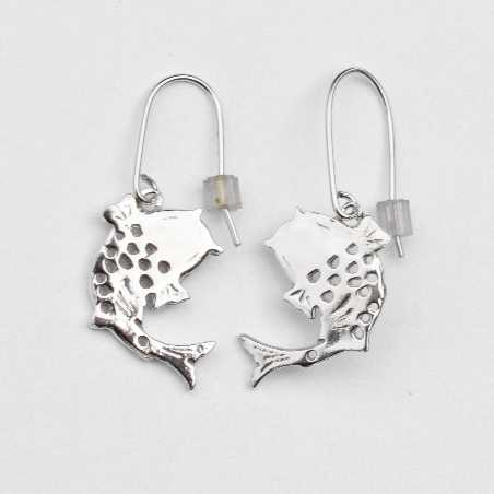 Boucles d'oreilles pendantes carpe Koï en argent massif 925/1000  Koi 77,00€