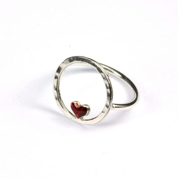 Bague coeur rouge Valentine en argent massif 925/1000  Valentine 45,00€
