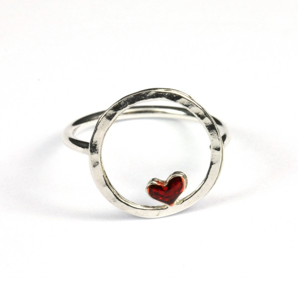 Sterling silver red heart Valentine ring  Valentine 45,00 €