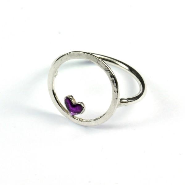 Bague coeur violet Valentine en argent massif 925/1000  Valentine 45,00€