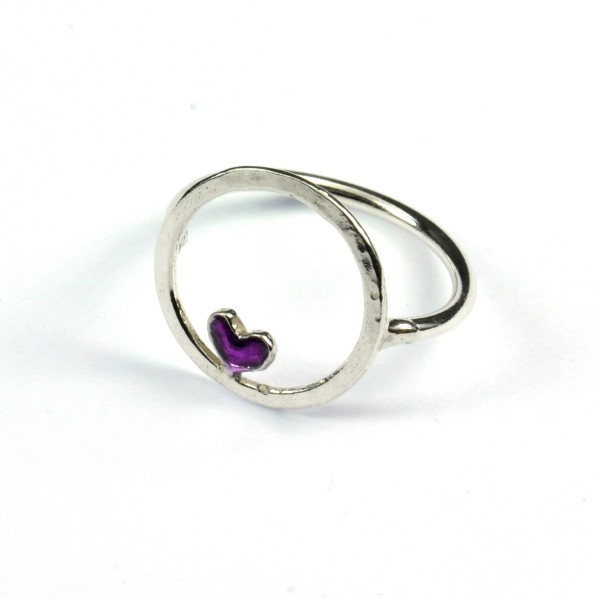 Sterling Silber Valentine Ring mit Violettes Hertz  Valentine 45,00€