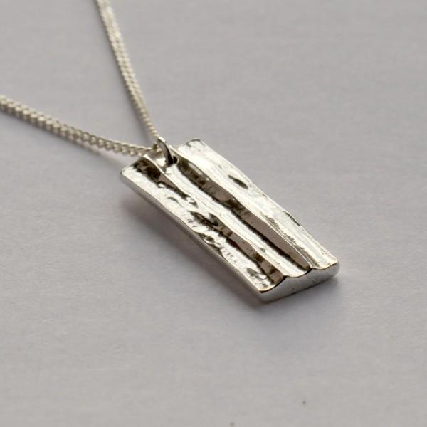 Collier rectangulaire en argent massif Bamboo petite série Einzelstucke une kleine Serien 65,00€