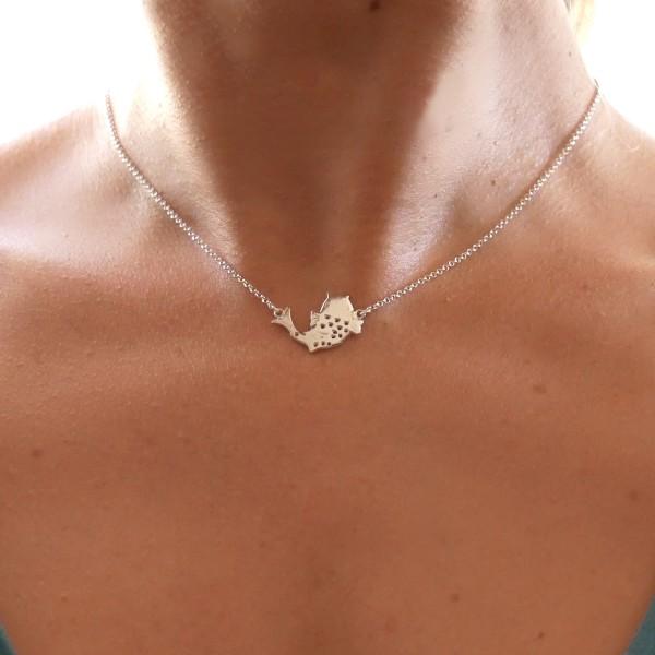Jolie collier ras de cou carpe Koï en argent massif 925/1000 Koi 67,00€