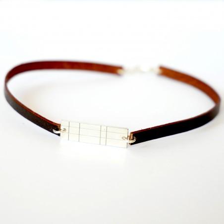 Bracelet gourmette Kilt en argent massif 925/1000 et cuir marron  Pour homme 35,00€