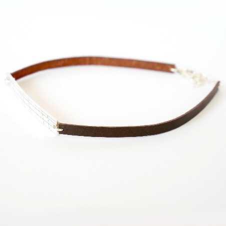 Bracelet Kilt en argent massif 925/1000 et cuir marron  Pour homme 45,00€