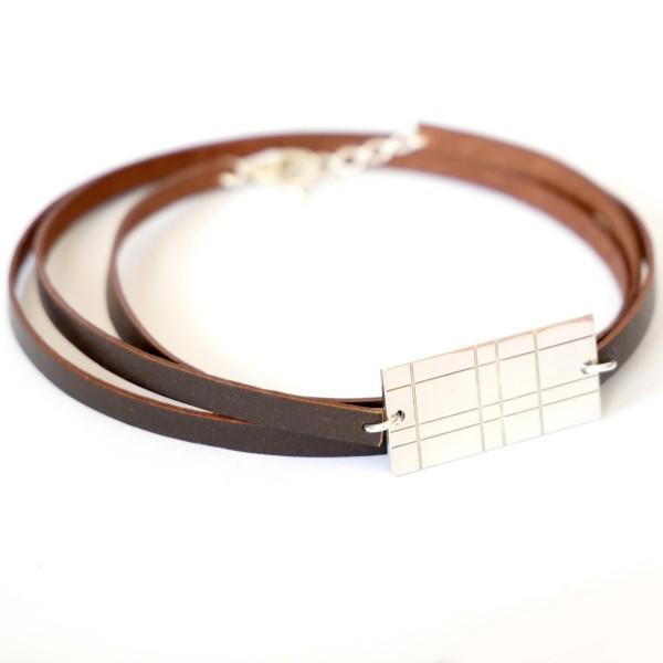 Bracelet multi-rangs Kilt en argent massif 925/1000 et cuir marron Pour homme 55,00€