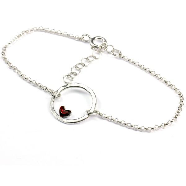 Petit bracelet coeur rouge Valentine réversible en argent 925 Valentine 37,00€