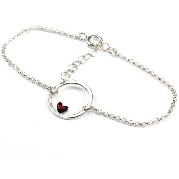 Small sterling silver Valentine red heart bracelet Desiree Schmidt Paris Valentine 37,00 €