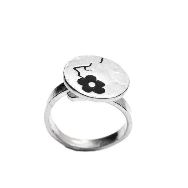 Scwarze Kirschblumen Sterling Silber verstellbarer Ring  Kirschblumen 79,00€
