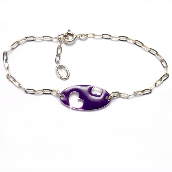 Valentine heart sterling silver purple bracelet Valentine 59,00€