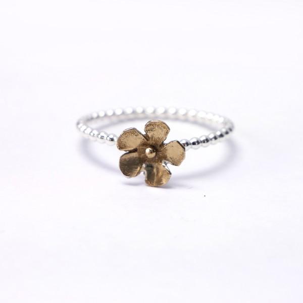 Small bronze Sakura flower on sterling silver ring Sakura 37,00€