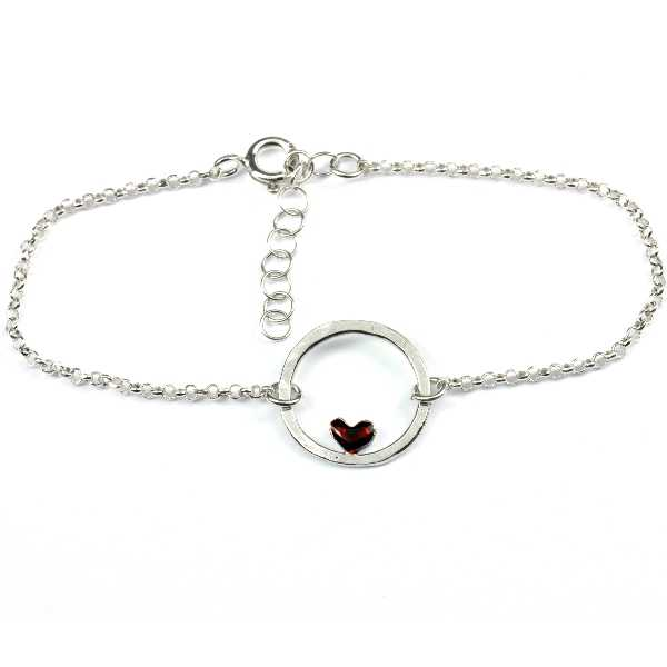 Small sterling silver Valentine red heart bracelet Desiree Schmidt Paris Valentine 37,00€