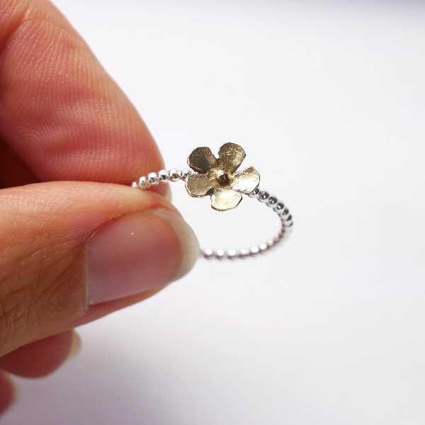 Kleiner Bronze Sakura Blume Sterling Silber Ring Sakura 37,00€