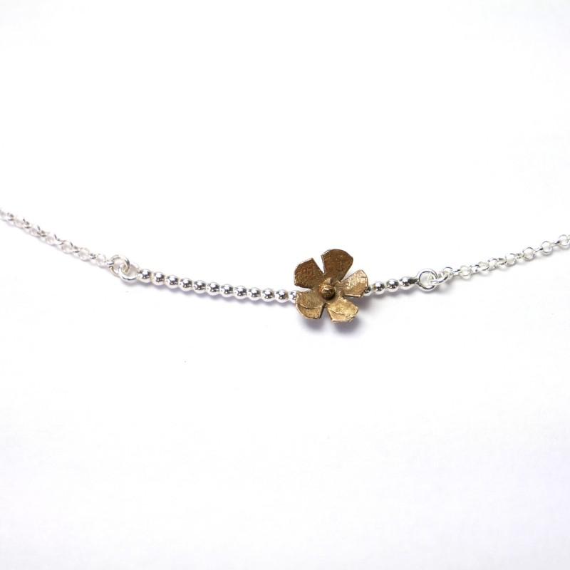 Sakura flower necklace in sterling silver and bronze flower Desiree Schmidt Paris Sakura 47,00€