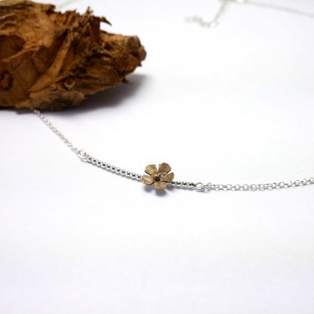 Minimalist necklace flower silver 925 and bronze made in France Desiree Schmidt Paris Sakura 47,00€