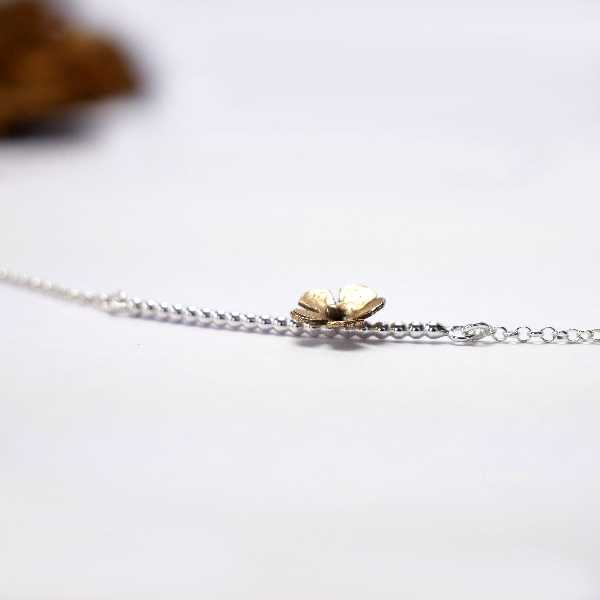 Short necklace for woman silver 925 flower and bronze made in France Desiree Schmidt Paris Sakura 47,00€