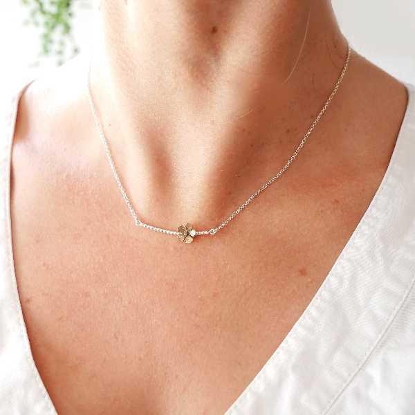 Sakura bronze flower necklace in 925/1000 silver made in France Desiree Schmidt Paris Sakura 47,00€