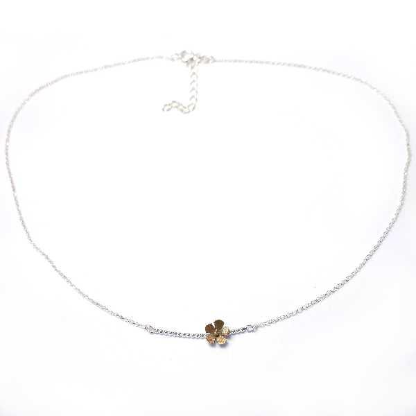 Fine Sakura flower necklace in sterling silver 925 and bronze made in France Desiree Schmidt Paris Sakura 47,00€