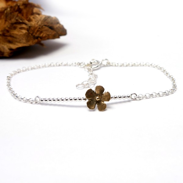 Small Sakura flower bracelet in sterling silver and bronze Sakura 39,00 €
