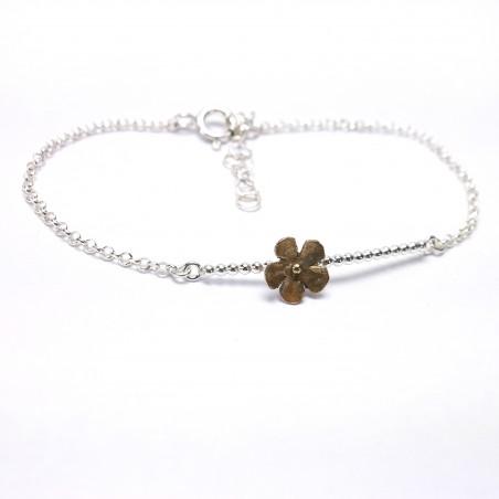 Kleine Sakura Kirschblume Armband aus Sterling Silber und Bronze Sakura 39,00€